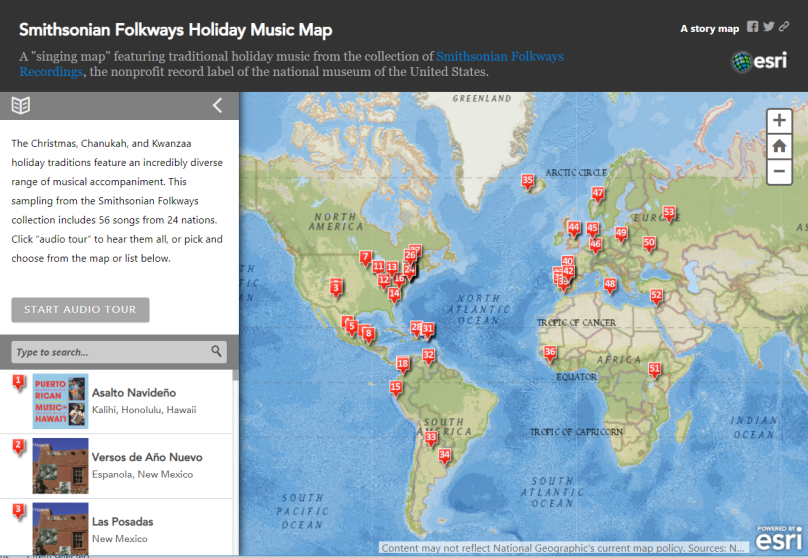 holiday music map